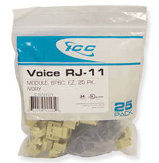 Picture of ICC CAT3JK6PKIV - IC1076VCIV - 25PK Cat3 Jck 6Con. - Ivory