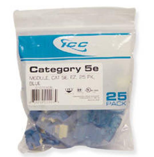 Picture of ICC CAT5JKPK-BL - IC107E5CBL - 25PK Cat5 Jack - Blue EZ