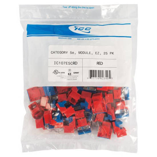Picture of ICC CAT5JKPK-RD - IC107E5CRD - 25PK Cat5 Jack - Red EZ