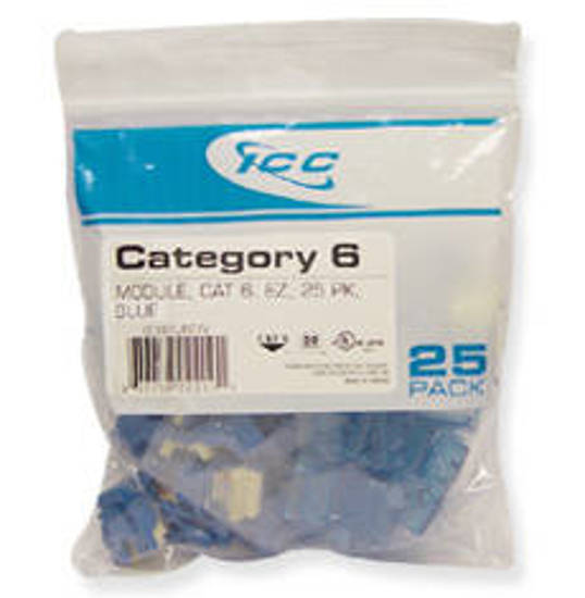 Picture of ICC CAT6JKPK-BL - IC107L6CBL CAT6 EZ 25 PK BLUE