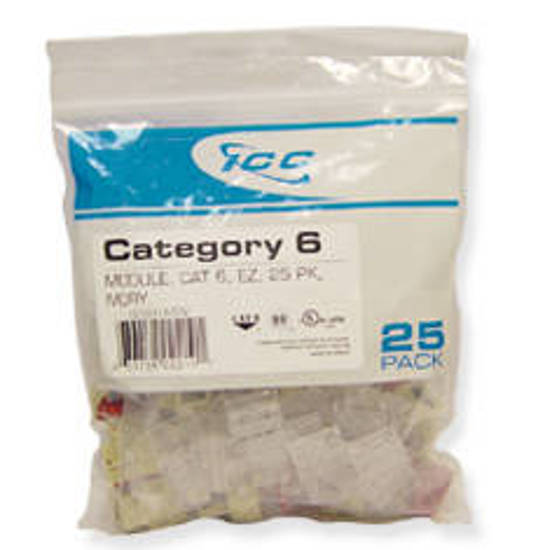 Picture of ICC CAT6JKPK-WH - IC107L6CWH - 25PK Cat6 Jack - White