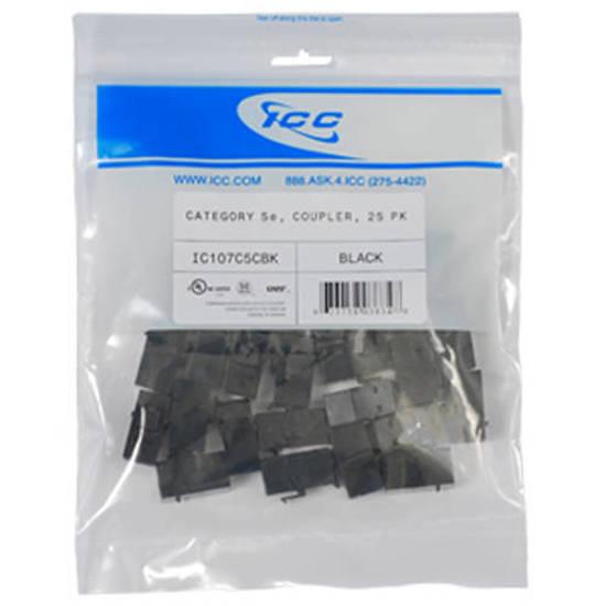 Picture of ICC IC107C5CBK - MODULE, COUPLER, CAT 5e 25 PK, BLACK