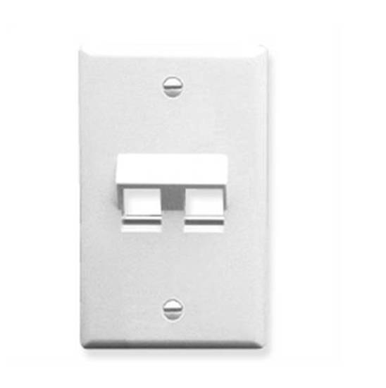 Picture of ICC IC107DA2WH - FACEPLATE, ANGLED, 1-GANG, 2-PORT, WHITE