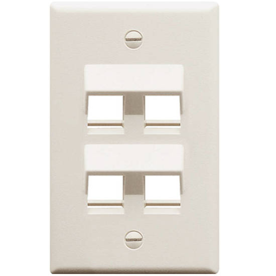 Picture of ICC IC107DA4WH - FACEPLATE, ANGLED, 1-GANG, 4-PORT, WHITE