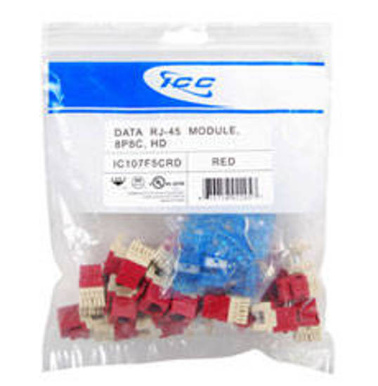 Picture of ICC IC107F5CRD - MODULE, CAT 5e, HD, 25 PK, RED