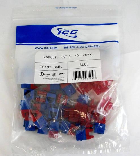 Picture of ICC IC107F6CBL - MODULE, CAT 6, HD, 25PK, BLUE