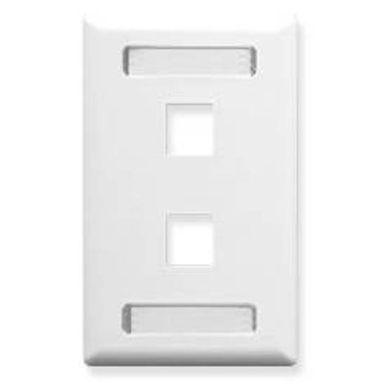 Picture of ICC IC107S02WH - FACEPLATE, ID, 1-GANG, 2-PORT, WHITE
