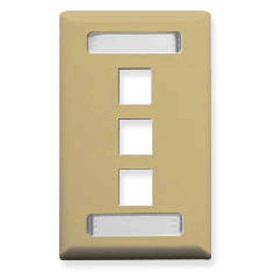 Picture of ICC IC107S03IV - FACEPLATE, ID, 1-GANG, 3-PORT, IVORY