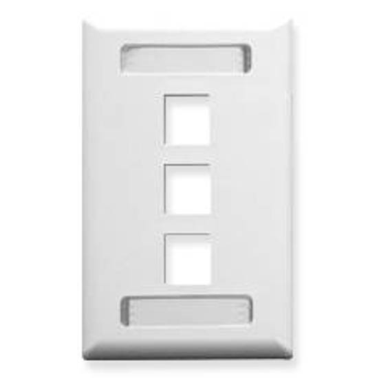 Picture of ICC IC107S03WH - FACEPLATE, ID, 1-GANG, 3-PORT, WHITE