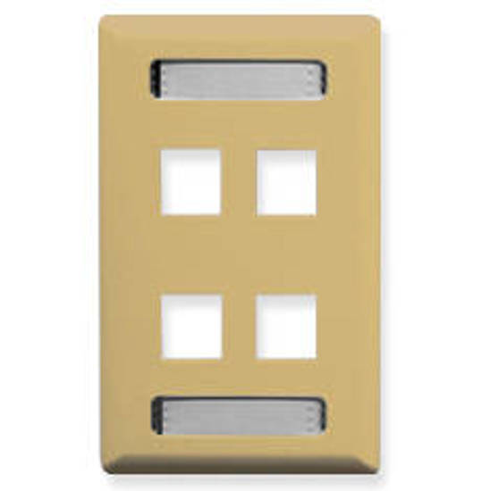 Picture of ICC IC107S04IV - FACEPLATE, ID, 1-GANG, 4-PORT, IVORY