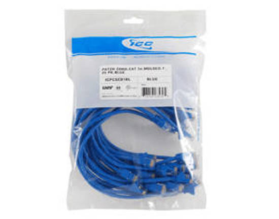 Picture of ICC ICPCSC07BL - 25 PK PATCH CORD, CAT 5e, 7ft,  BLUE