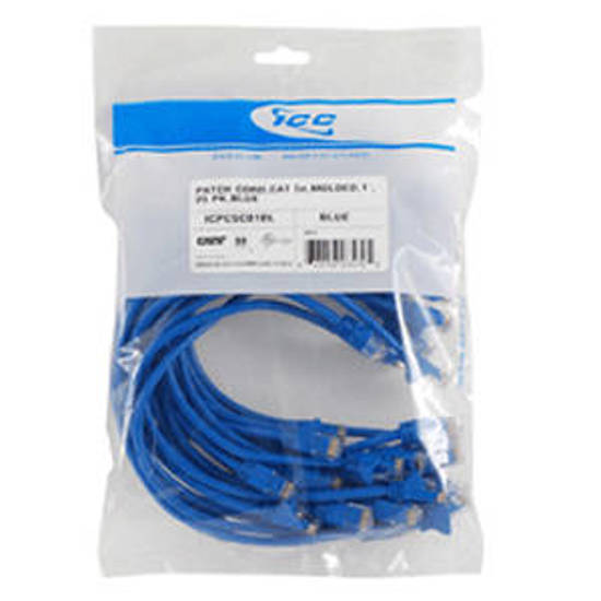 Picture of ICC ICPCSD07BL - 25 PK PATCH CORD,CAT 6,MOLDED,7ft BLUE