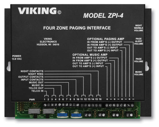 Picture of Viking Electronics ZPI-4 - Viking Multi-Zone Paging INterface